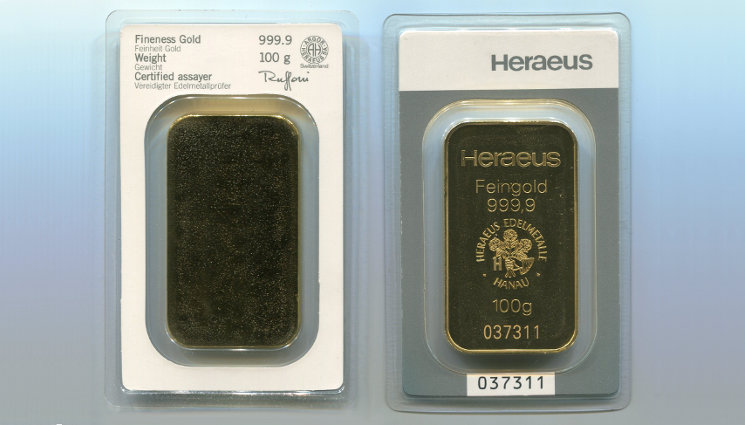 Heraeus Goldbarren Blister